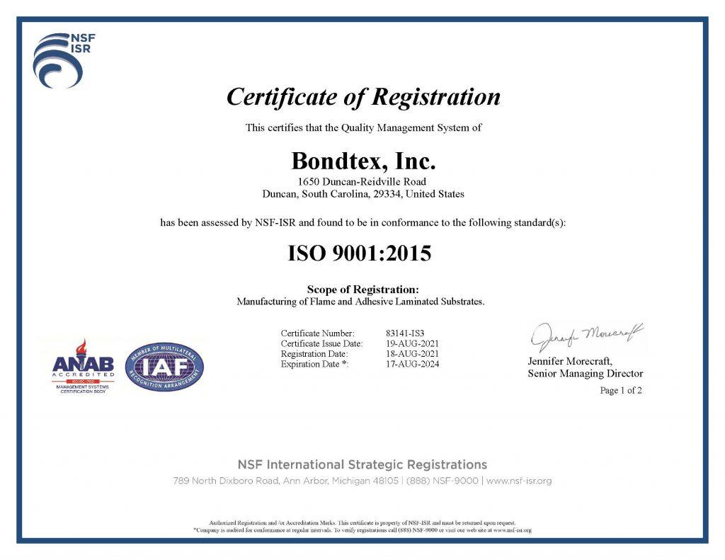 Bondtex-ISO 9001:2015
