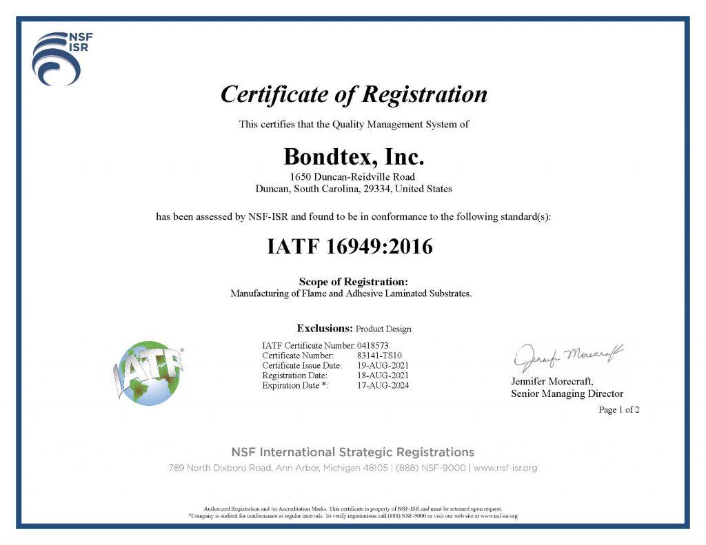 Bondtex-IATF16949-2016